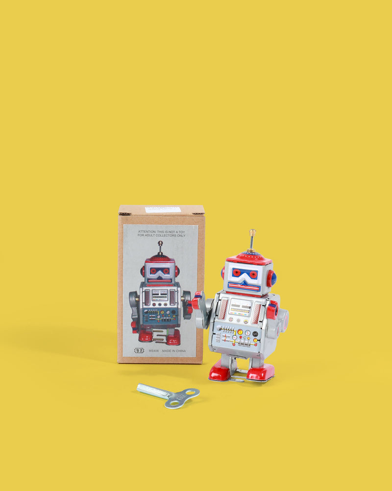 Small Red Robot Tin Toy