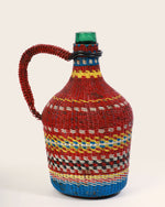 Vintage Hungarian Miners Bottle with Deep Red Handle, Large