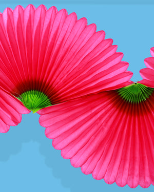 Load image into Gallery viewer, Paper Fan Garland, Cerise