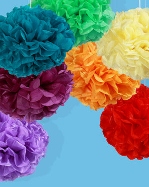 Rainbow Paper Pom Pom Set, Large