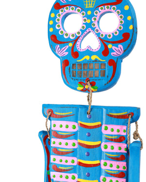 Wooden Day of the Dead Skeleton, Blue