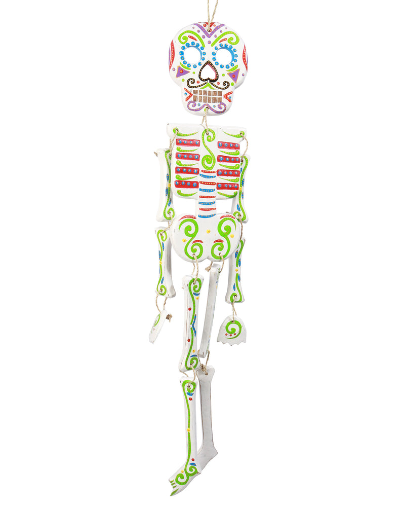 Wooden Day of the Dead Skeleton, White
