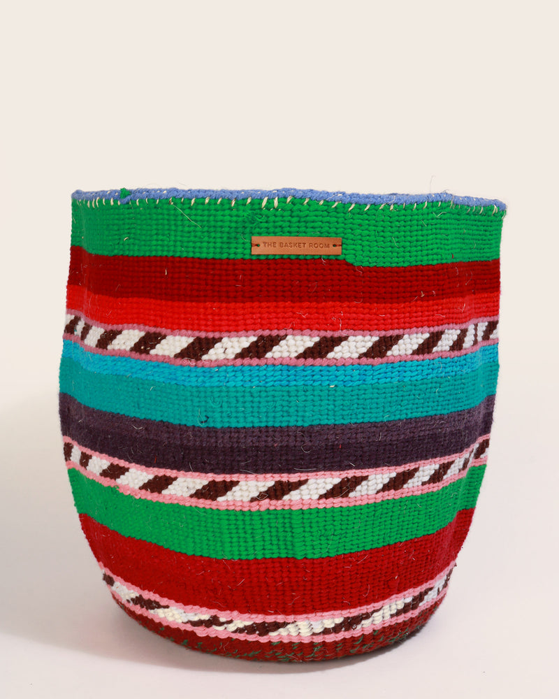 Load image into Gallery viewer, Kenyan Handwoven Basket, Green & Burgundy Stripes