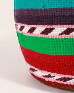 Kenyan Handwoven Basket, Green & Burgundy Stripes