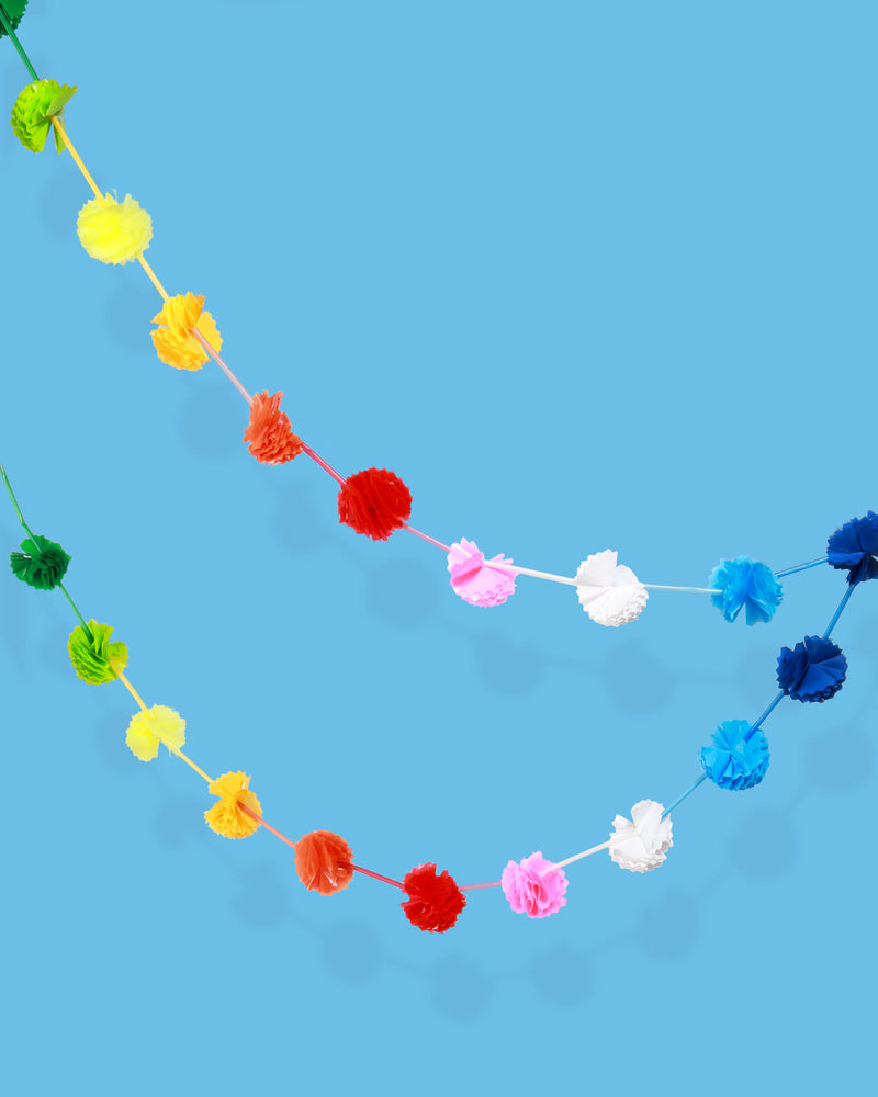 Rainbow Festoon With Pom Poms