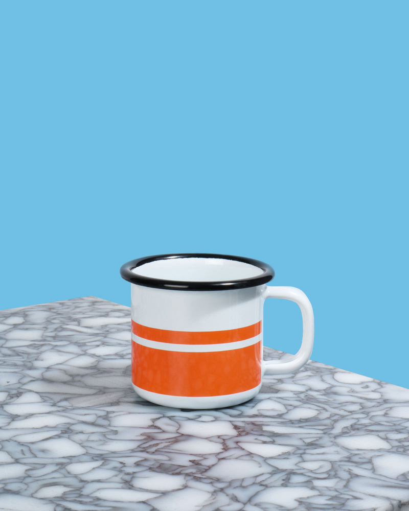 Enamel Espresso Mug, Orange Stripe
