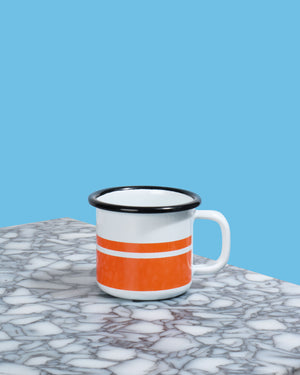 Load image into Gallery viewer, Enamel Espresso Mug, Orange Stripe