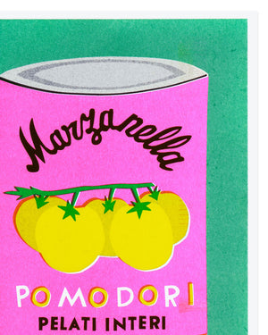Load image into Gallery viewer, A Risograph Print of a Can of Pomodori