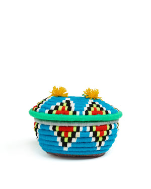 Load image into Gallery viewer, Banoo Oval Basket Blue & Green