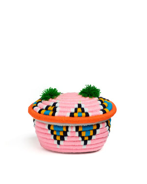 Load image into Gallery viewer, Banoo Oval Basket Light Pink & Orange
