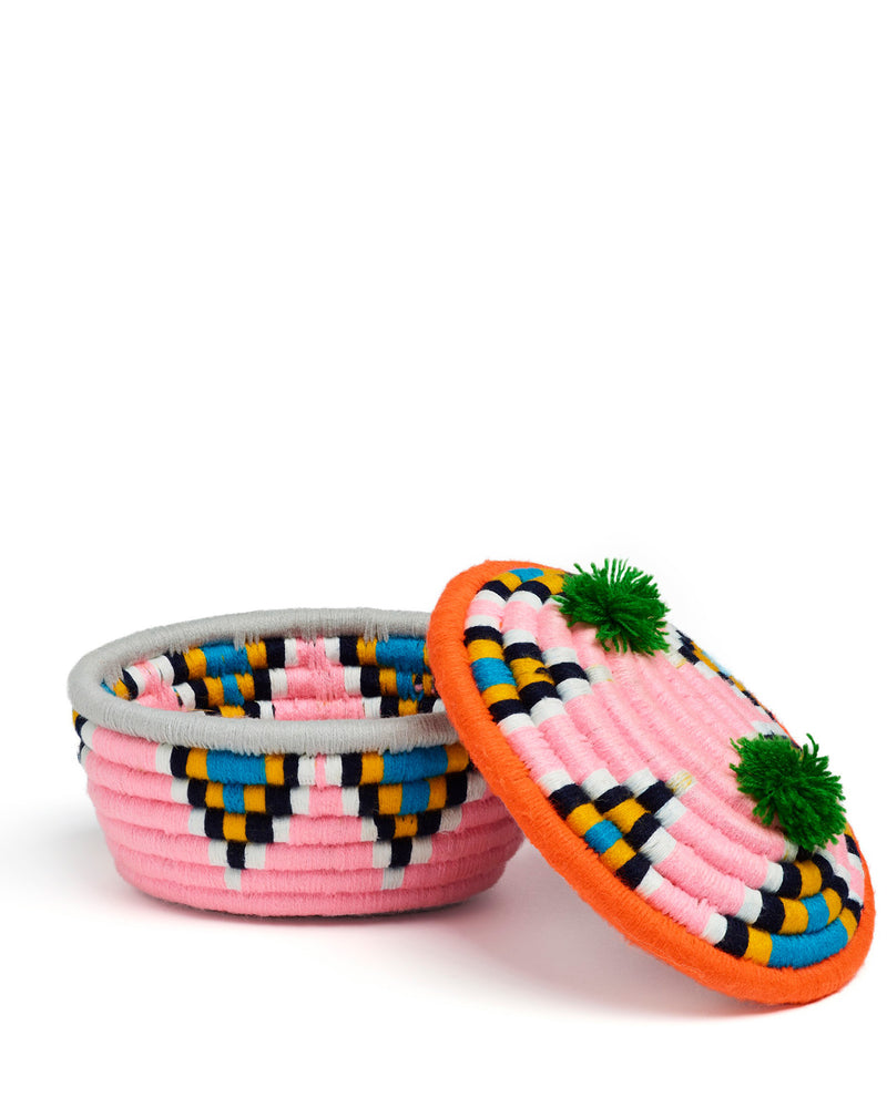 Banoo Oval Basket Light Pink & Orange