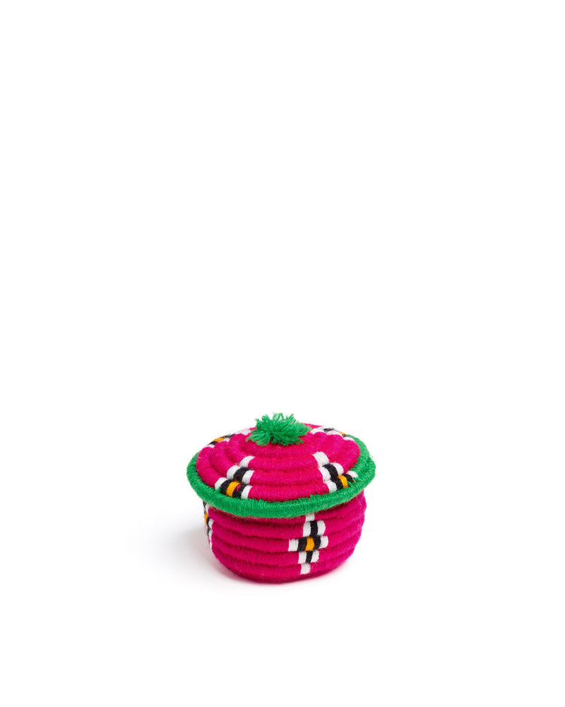 Load image into Gallery viewer, Nini Round Basket Pink & Green