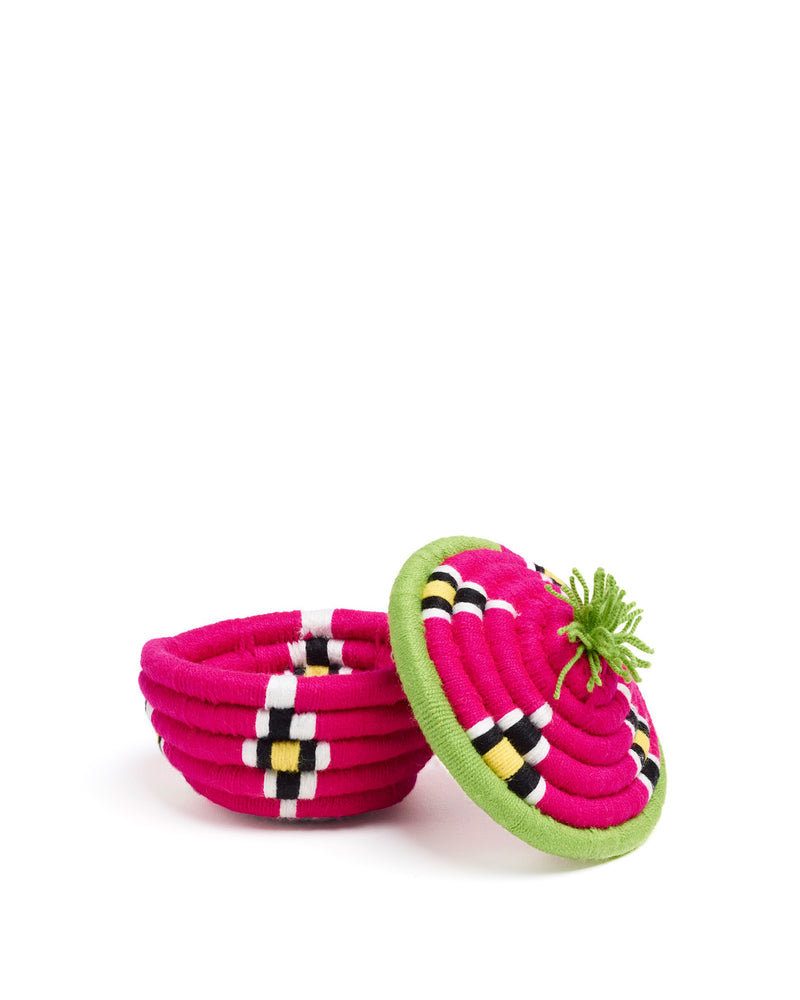 Load image into Gallery viewer, Dokht Round Basket Pink & Green