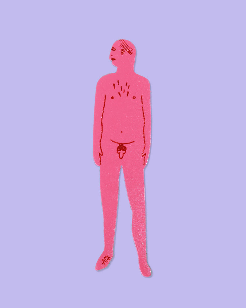 Nudist Bookmark Man, Pink