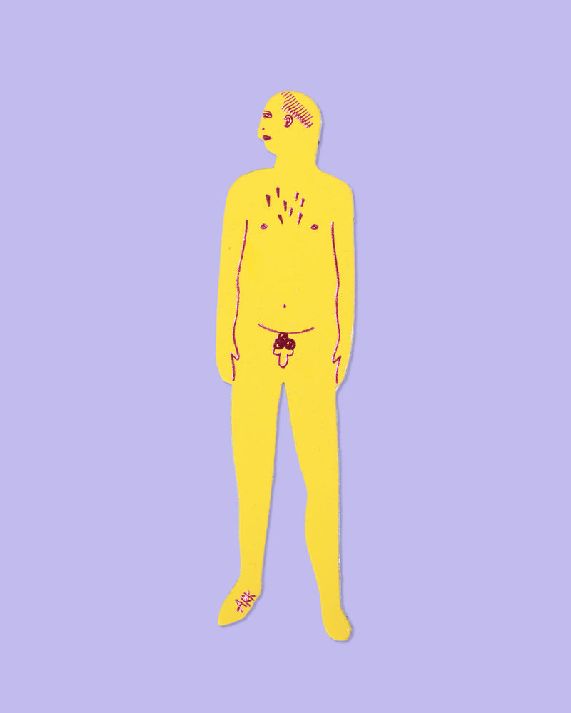 Nudist Bookmark Man, Yellow