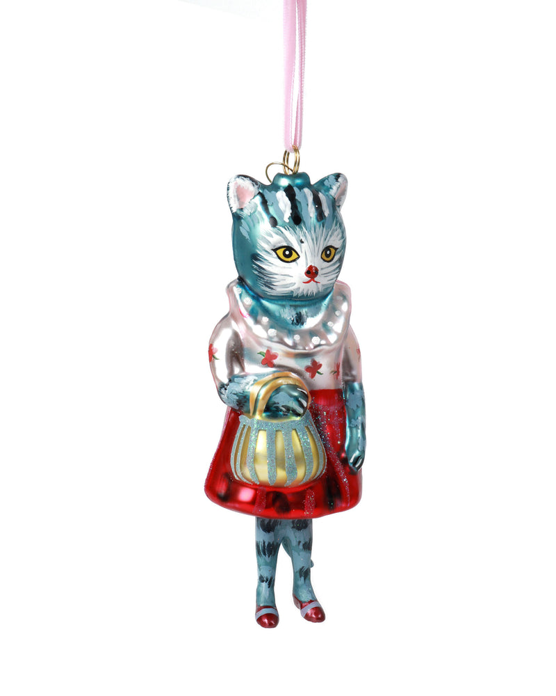 Load image into Gallery viewer, Nathalie Lété Cat Ornament, Red Skirt