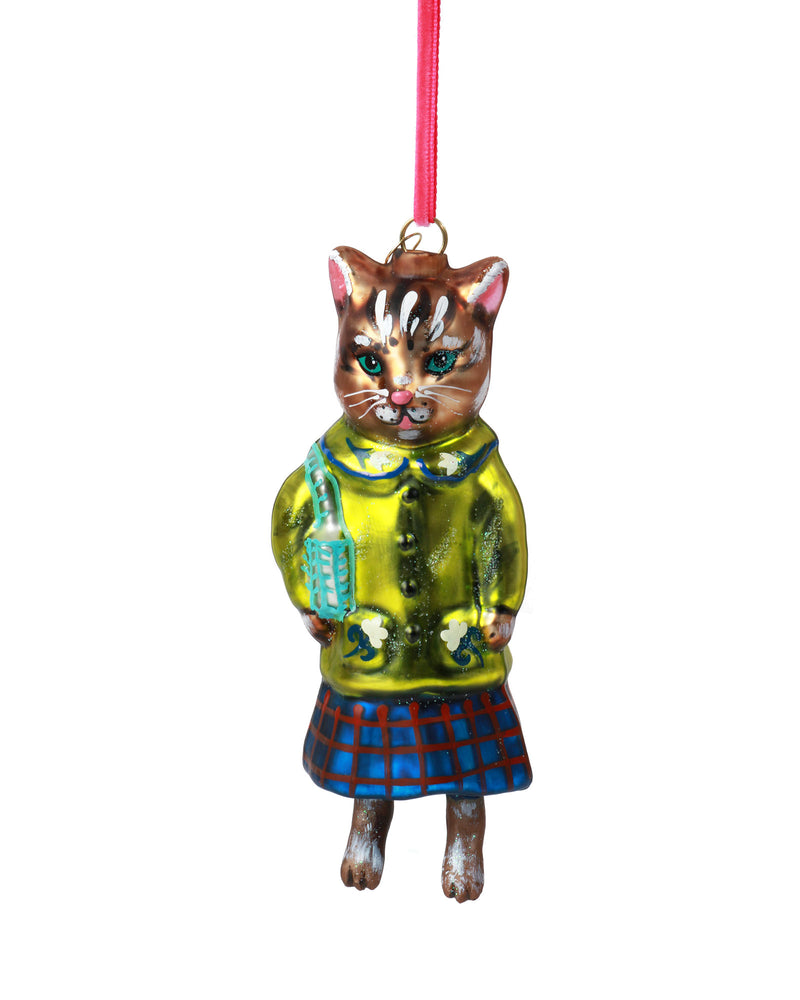 Nathalie Lété Cat Ornament, Lime Coat