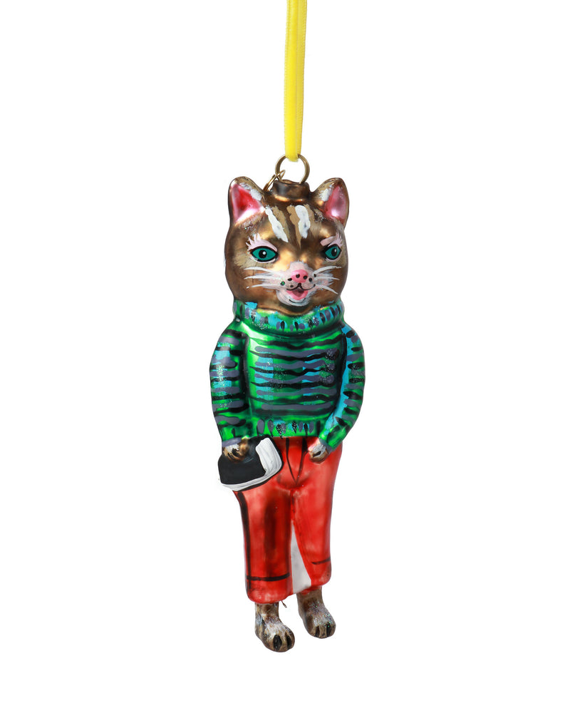 Nathalie Lété Cat Ornament, Red Trousers