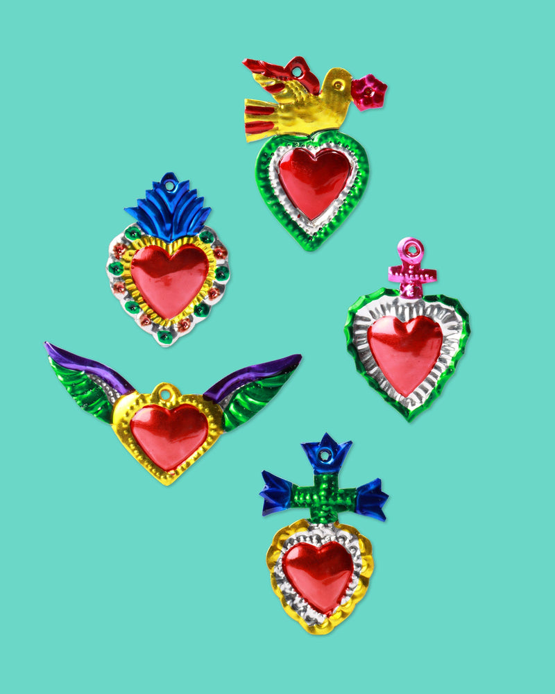 Ex-Voto Embossed Heart, Set of 5