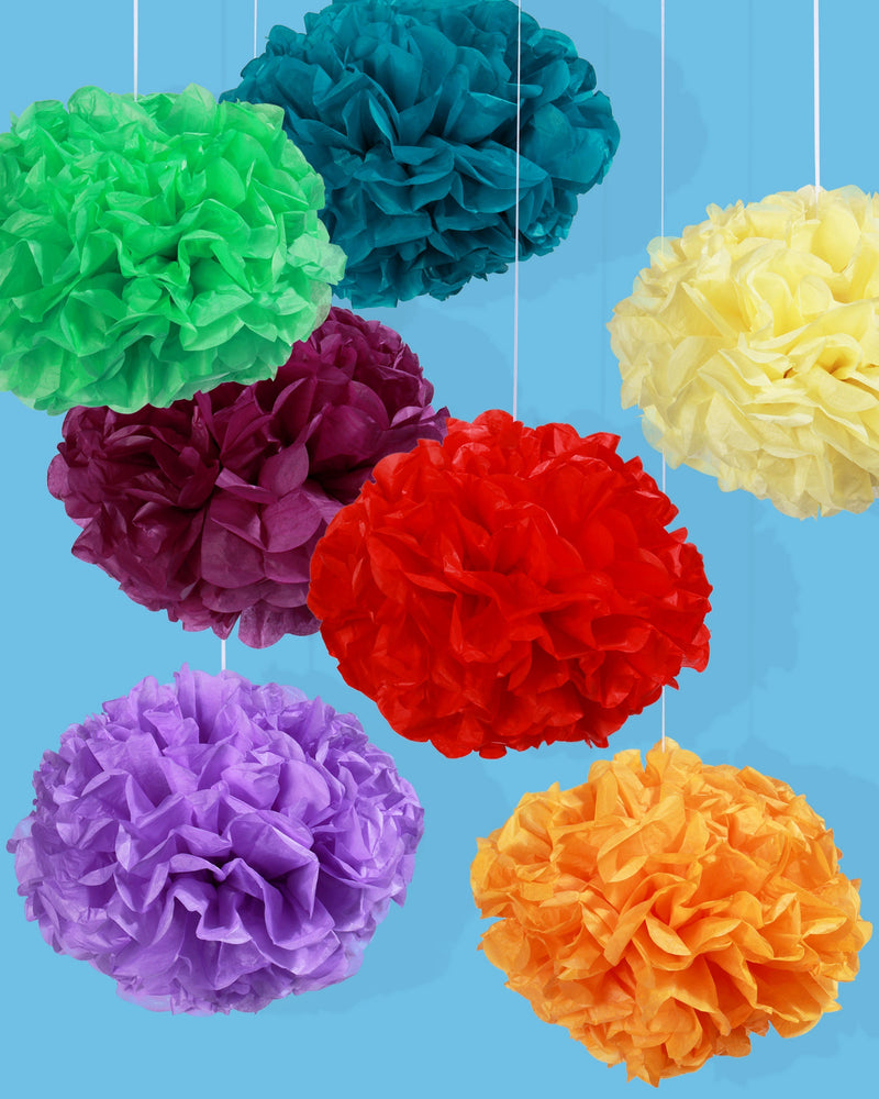 Rainbow Paper Pom Pom Set, Small