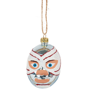 Mexican Wrestler Head, Ice Blue & White