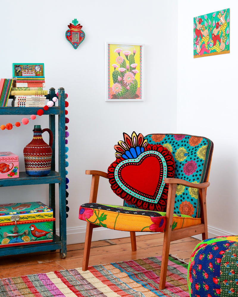 Milagro Heart Cushion, Red