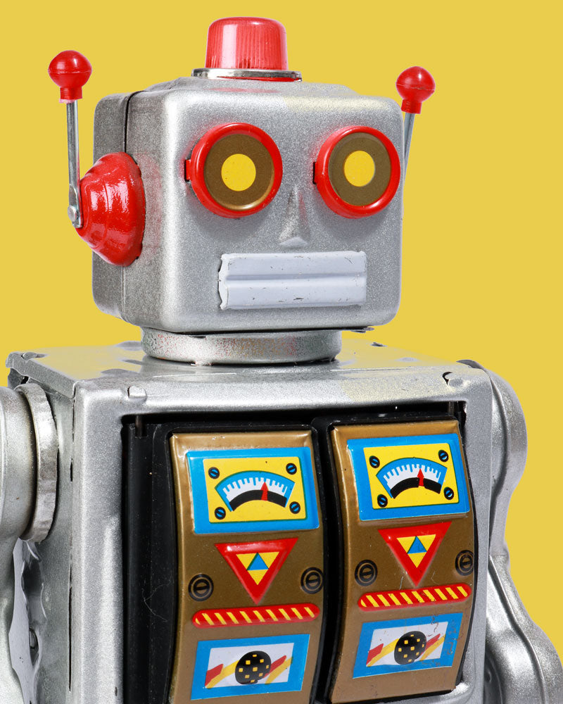 Load image into Gallery viewer, Big Flashing Silver Robot Tin Toy