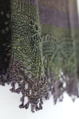 Clapotis shawl in Olive Branch
