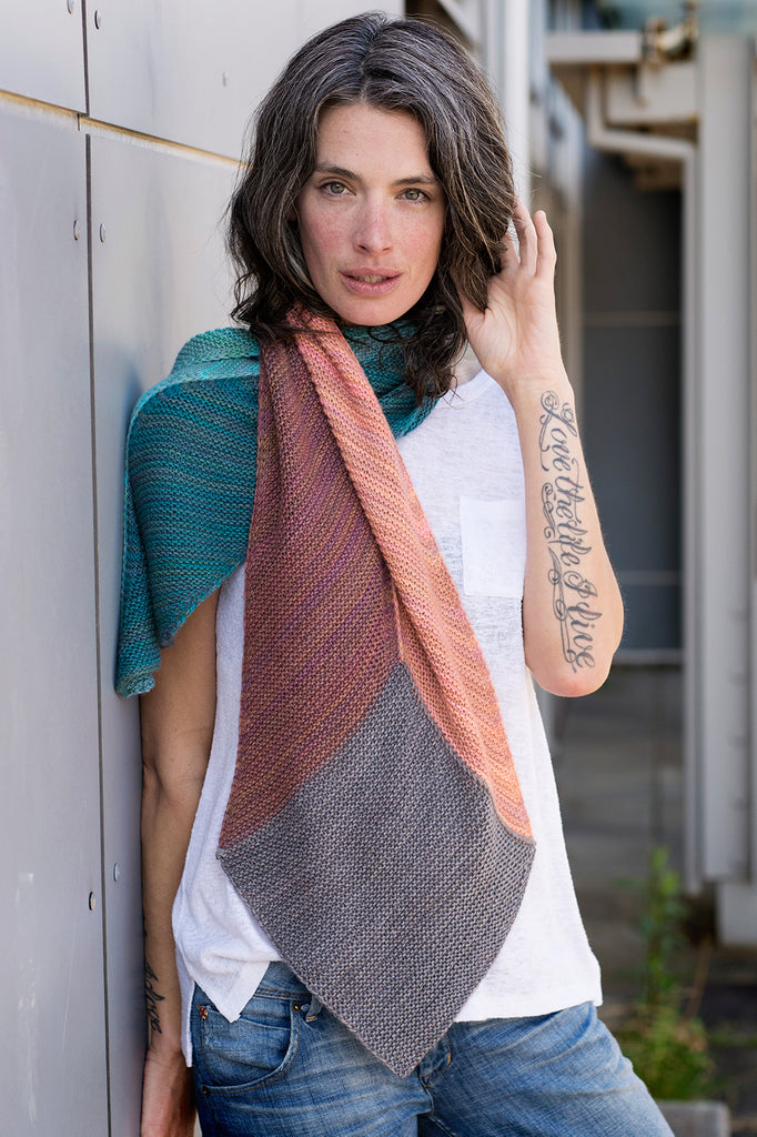 Shadow Prism knit scarf by Andrea Rangel and Gauge Dye Works Summer Yarn and Pattern Club