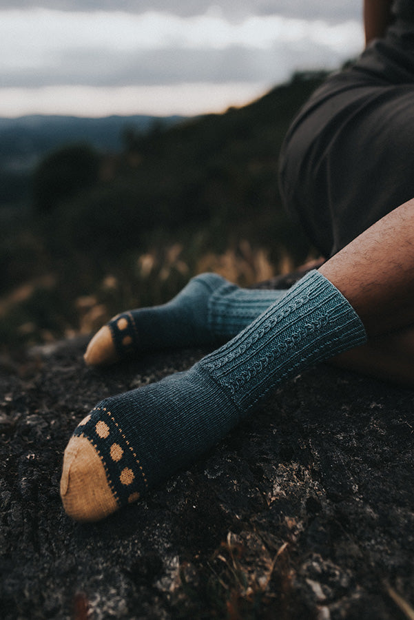 Sun and Moon hand knit socks by andrea rangel and Gauge Dye works