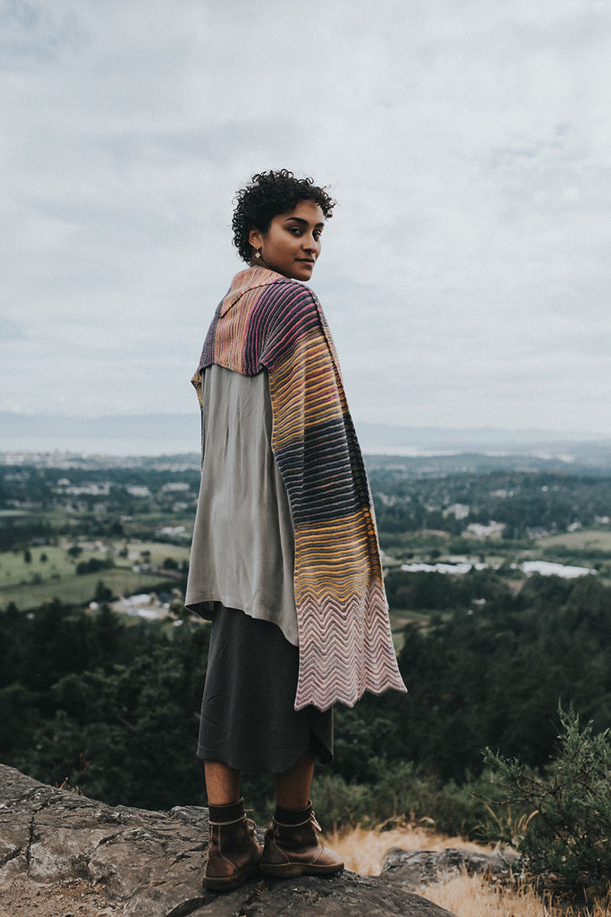 Morning and Evening knit scarf by Andrea rangel gauge dye works