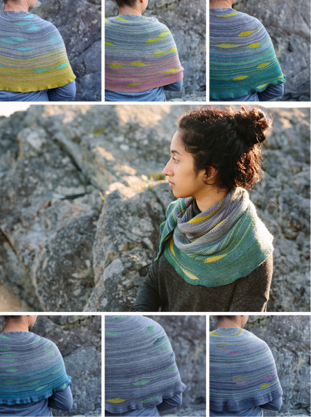 Goldstream shawl self striping knitting pattern and wool yarn from Andrea Rangel and gauge dye works