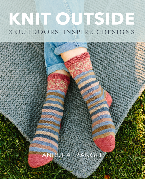 Knit Outside | self striping patterning yarn from Gauge Dye works with shawl and sock patterns from Andrea Rangel