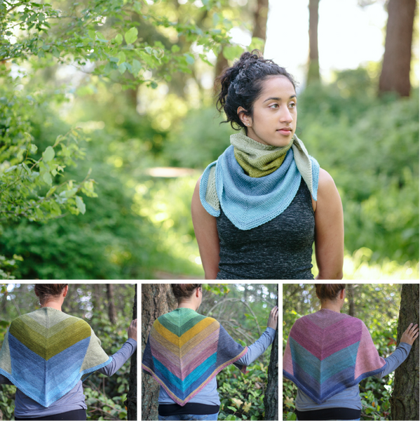 North Shore shawl self striping knitting pattern and wool yarn from Andrea Rangel and gauge dye works