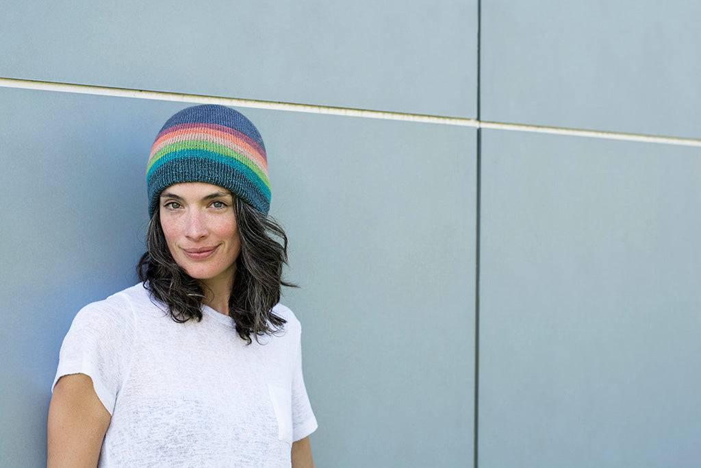 Full Spectrum rainbow self striping wool yarn hat by Andrea Rangel knits and gauge dye works