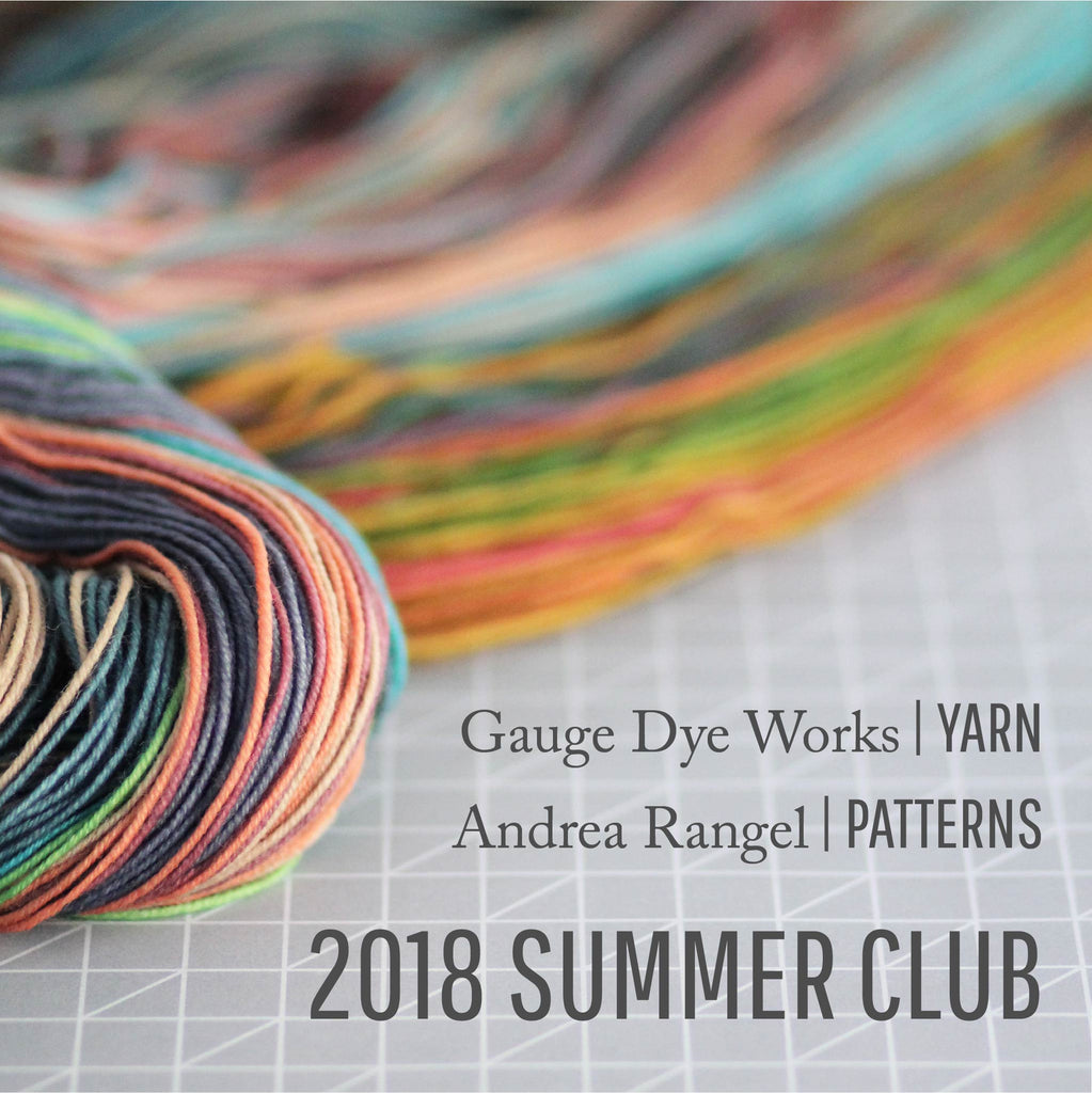 Gauge Dye Works subscription yarn club with knitting patterns from Andrea Rangel