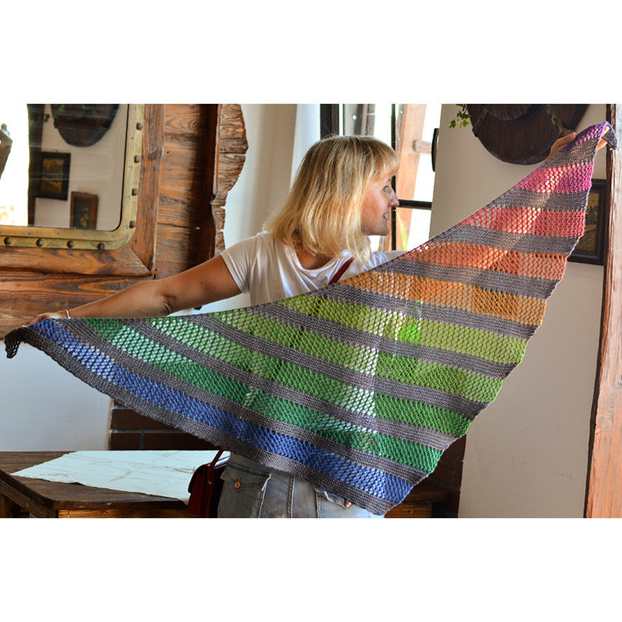 Concrete and Tulips self-striping Playground Shawl | Gauge Dye Works