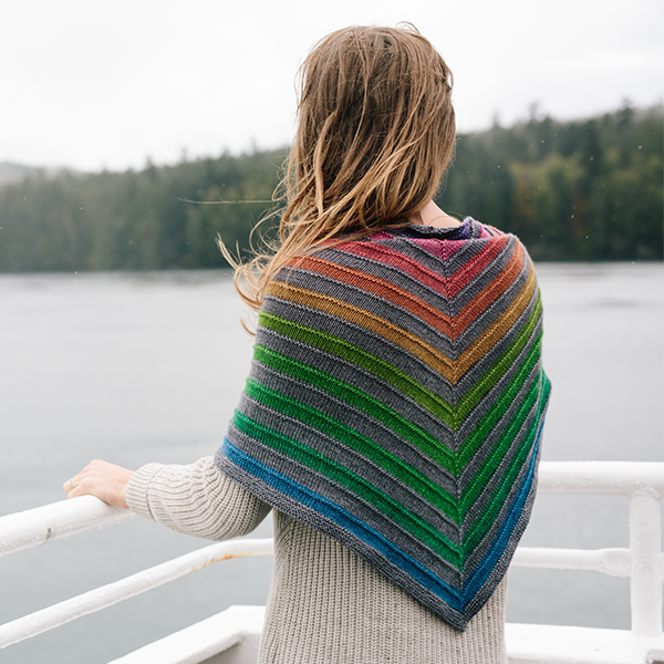 Concrete and Tulips self-striping rainbow shawl yarn | Gauge Dye Works