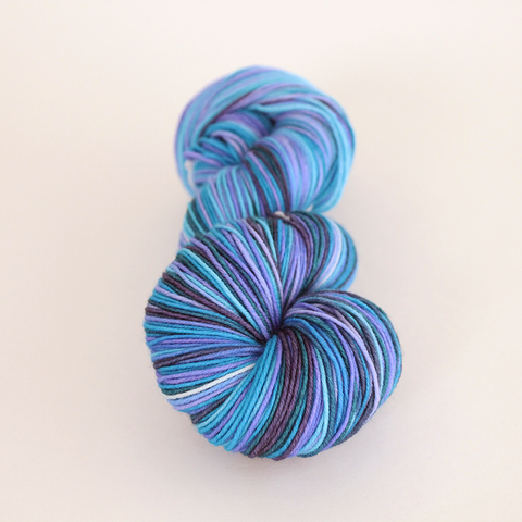 Purple Haze self-striping classic/sock yarn | Gauge