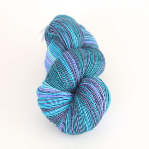 Purple Haze self-striping shawl yarn | Gauge