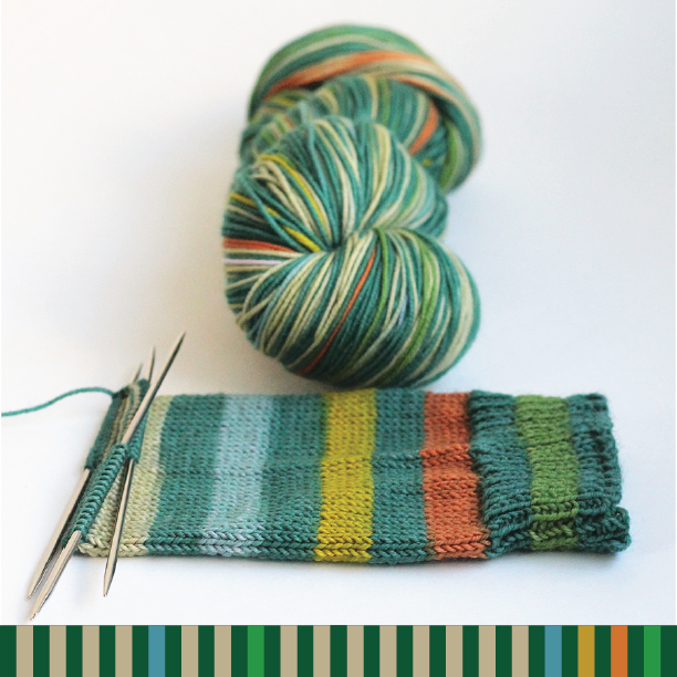 Cathedral Grove Gauge self striping sock yarn