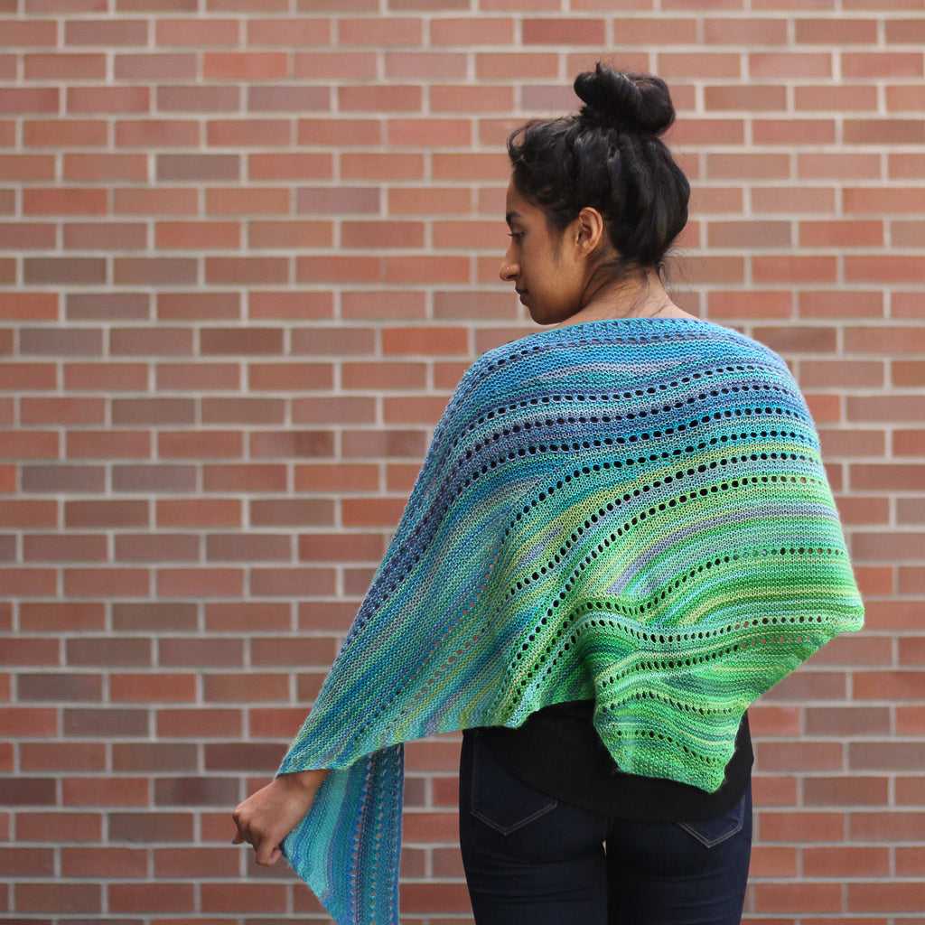 Azurite A SHAWL yarn green blue self striping fade gradient wool from Gauge Dye Works Bermuda Scarf Ilga Leja
