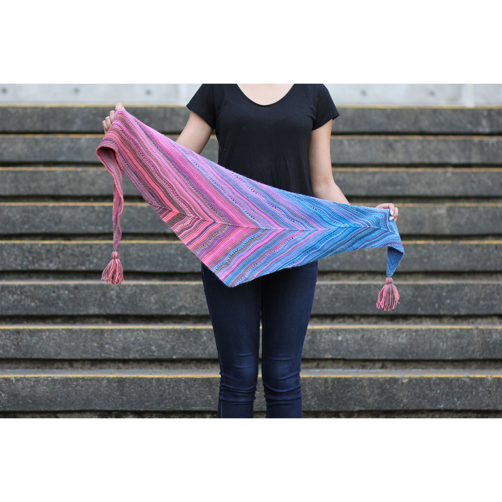 Azurite C SHAWL yarn blue pink purple self striping fade gradient wool from Gauge Dye Works Rift by Laura Aylor