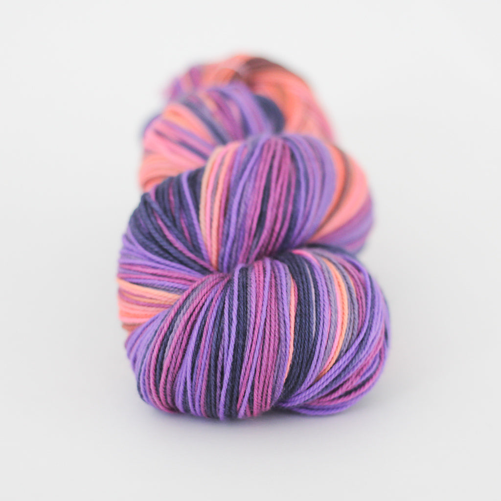 Azurite D SHAWL yarn orange pink purple self striping fade gradient wool from Gauge Dye Works