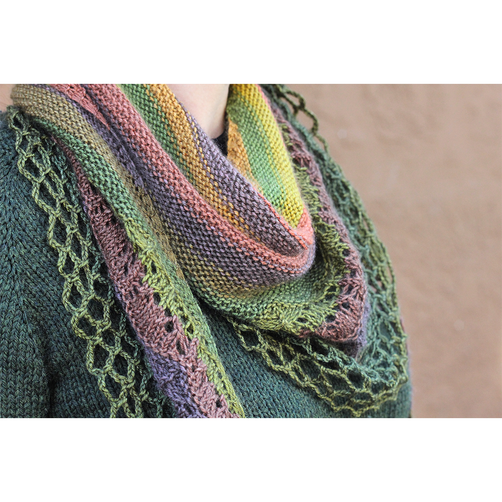 Olive Branch self striping shawl yarn gauge dye works sea stripes by Kirsten kapur