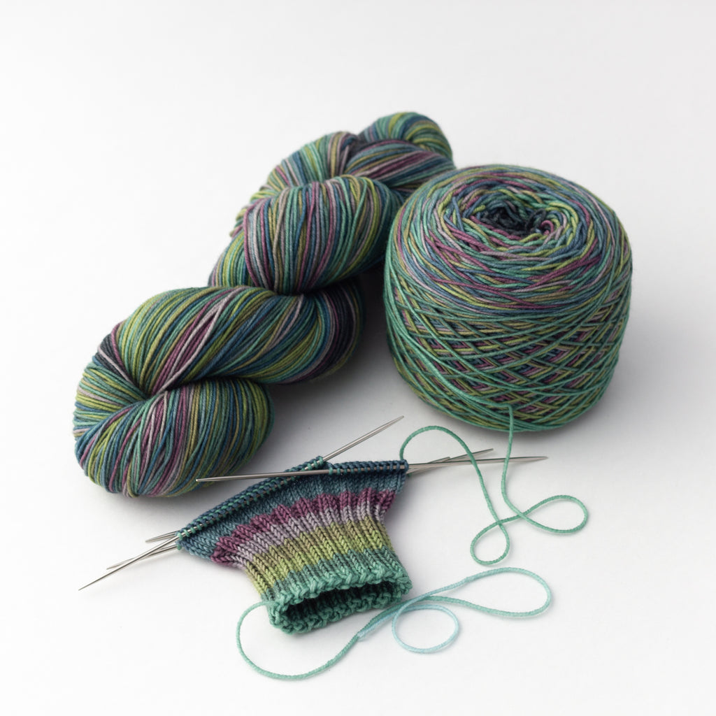Siren Song self striping sock yarn gauge dye works