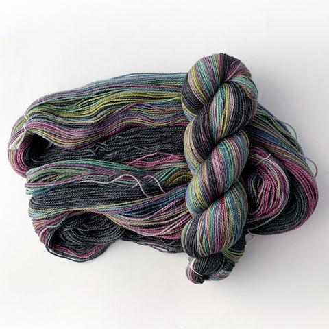 Siren Song shawl yarn self striping gauge dye works knitting
