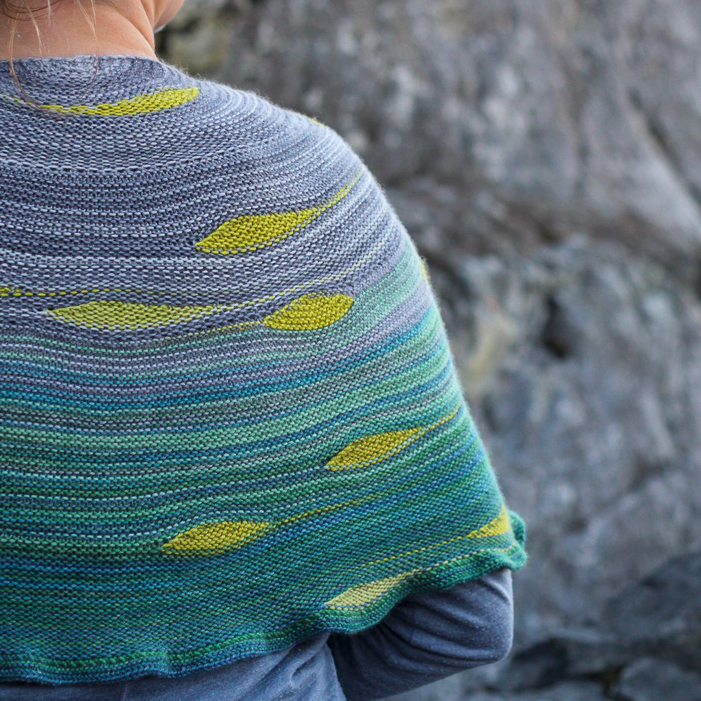 Goldstream knit shawl by Andrea Rangel Gauge Dye Works