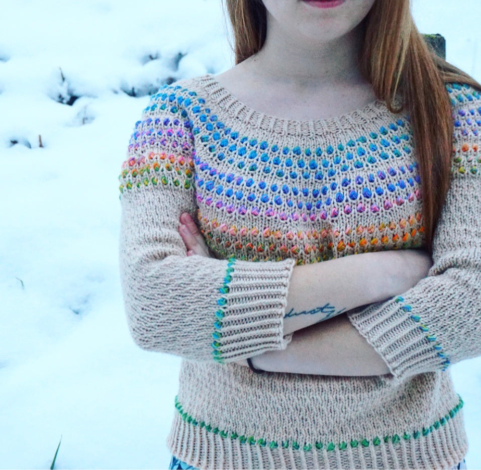 Santa Clara sweater by orangeknits Mara Bryner knit in YOTH Big Sister Gauge Dye Works All Together Now