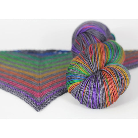 Concrete Remix self-striping rainbow shawl yarn
